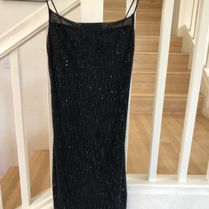 Black mesh sequin date night party dress